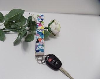 Niagara Triangle -Key Fob, Floral Key Chain, Women's Key Fob, Fabric Key Fob, Hands Free Key Holder, Cloth Key Wristlet