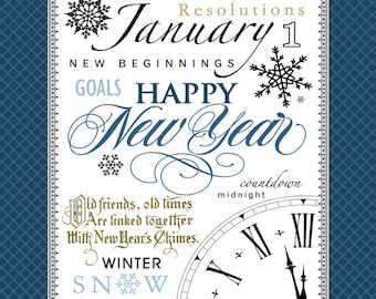 January Subway Art. New Year's Printable. Instant Download.