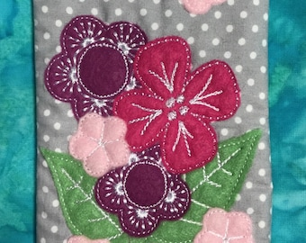 Machine Embroidered Flower pouch