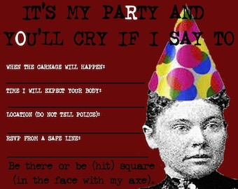 Lizzie Borden Party Invitations, set of 8