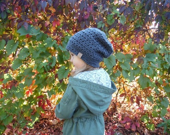 Grey Crochet Hat Slouchy Beanie Any Size Toddler to Adult