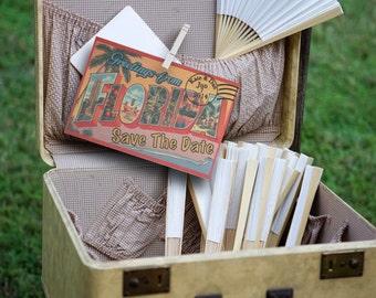 Vintage Travel Postcard Florida Beach Save the Date Wedding Invitation