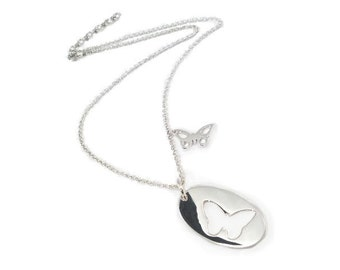 Sterling Silver Necklace with Butterfly cut of and on fine chain - All Solid 925 Sterling Silver