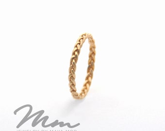 Unique Wedding Bands for Women Gold Braided ring gold ring braided wedding band unique braided ring for women braided gold wedding band