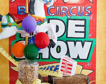 Circus, Big Top, Carnival, Fair, Photography Backdrop, Balloons, Studio, Popcorn, Peanuts, Tickets, Clowns, Vinyl, Poly Paper, Fleece