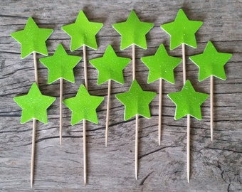 12 Lime Green Star Cupcake Toppers