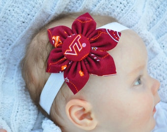 Free shipping! Virginia Tech fabric flower headband for Baby