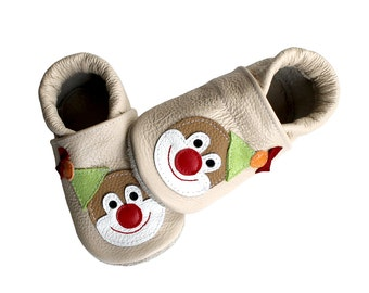 Leather Baby Booties, Baby Shoes, Clown Infant Newborn Nursery Children