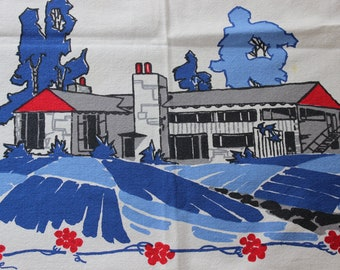 Tablecloth Starmont Ranch House mid century modern Startex Label VINTAGE by Plantdreaming