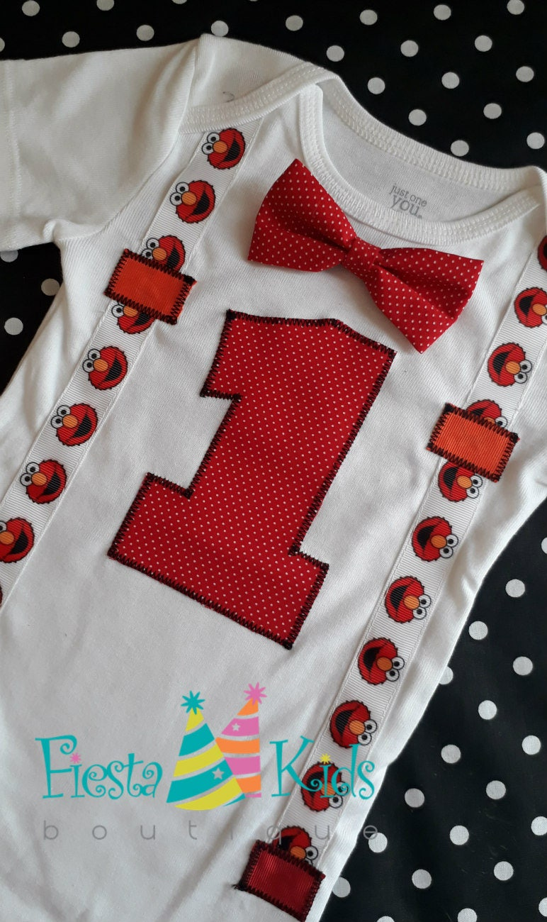 Elmo Birthday Baby Boy Outfit Shirt