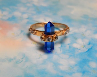 Exciting 14K Blue Crystal Point Ring - One of a Kind Crystal Termination w/ White Stone 14K Ring - 14K Crystal Ring - Blue Crystal - Crystal