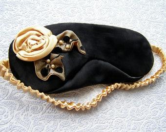 Black sleep mask - Satin eye mask - Pj party favor - Travel mask - Soft silk blindfold - golden rose - slumber bachelorette party