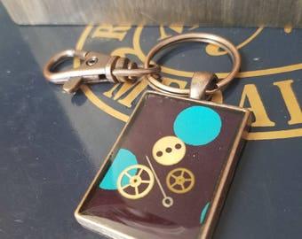 Clockwork Polka Dot Key Chain