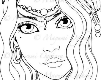 Gypsy Girl - digital stamp, colouring page, printable, instant download