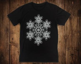 MENS Black T-Shirt // Metatrons Cube // Yoga Clothing // Fractal Clothing // Sacred Geometry // Flower of Life // Seed of Life //