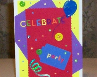 Celebrate Red Blank Greeting Card - Party, Celebration, Birthday, Congratulations, Red, Blue, Purple, Yellow, Green, Orange, All Occasion