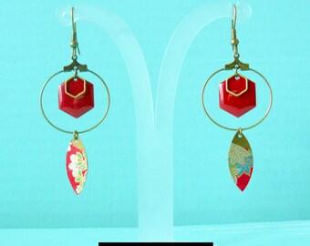 creole earrings red glazed hexagonal charm and shuttle Japanese paper