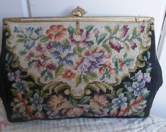 Petit point embroidered purse