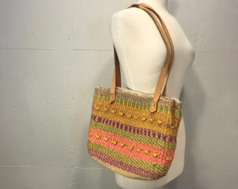 Boho hemp raffa shoulder bag bucket basket tote spring summer beach bag resort tote multi colored detail