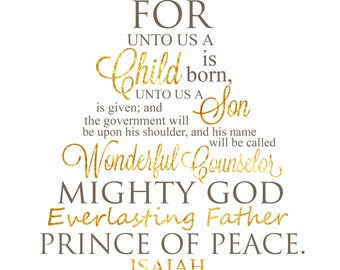 PRINTABLE - Isaiah 9:6 - For Unto Us a Child is Born