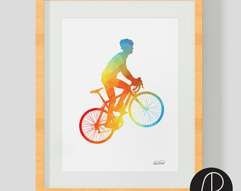 "Perfect gift for cyclists - ""The Climber"" - bike art print. Cycling art for cyclist"