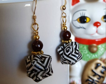 Stylish Zebra Modular Origami Earrings