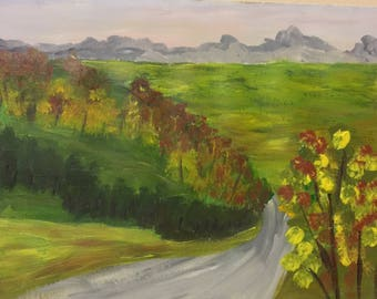 Original Acrylic Painting On Watercolor Paper Landscape Painting Impressionism Art