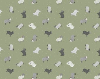 Tiny Sheep on Green Small Things On The Farm Animal Cotton Fabric by Lewis and Irene