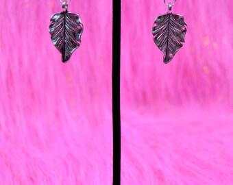 Small Silver Leaf Earrings
