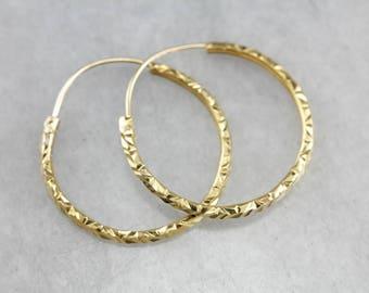 Vintage Gold Hoop Earrings, Yellow Gold Hoops, Faceted Hoop Earrings K26DJRCW-P