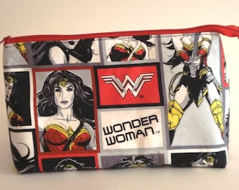 WONDER WOMAN 100% cotton fabric Cosmetic Bag, gift bag with full width opening and nylon zipper closure