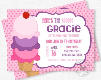 Ice Cream Invitation, Ice Cream Birthday Invitation, Ice Cream Party Invitation, Girl Birthday Invitation, Pink and Purple Invitation