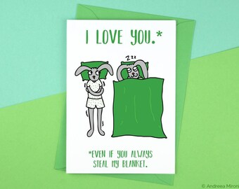 Steal My Blanket Funny Anniversary Card, Blanket Stealing Card, Funny Blanket Card, Funny birthday card, Funny anniversary girlfriend Card
