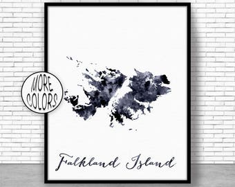 Falkland Islands Art Print Home Decor Falkland Islands Map Wall Prints Wall Art Home Wall Decor Watercolor Painting ArtPrintZone