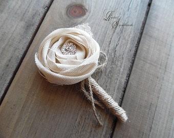 Rustic Boutonniere, Ivory Cotton Rose, Rhinestones, Burlap, Lace, Jute, Twine.