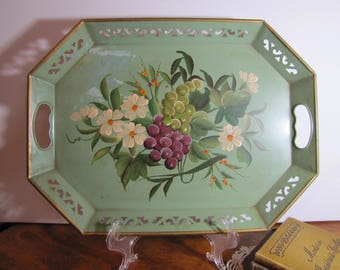Hand Painted Metal Tray - Green - Flowers and Grapes - Open Work Pattern - Deep Sides - Handles