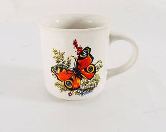 1970's Butterfly Coffee / Tea Mug Butterfly Lovers,Collectable Mug,Retro Mug