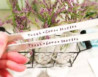 Teach Love Inspire - teacher gift - handstamped cuff bracelet