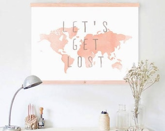 "Inspirational Art ""Let's Get Lost"" Typography Print Motivational Wall Decor Watercolor Poster Home Decor Quote Minimalist World Map"