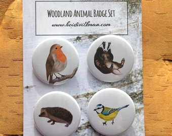 Woodland Animal Badges - Set of four - Woodland Art - Robin - Badger - Blue tit - Hedgehog