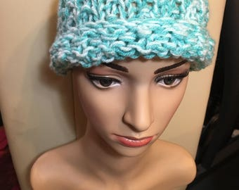 Hand knitted beanie hat, 2 tone turquoise, Acrylic yarn, adult size, soft and warm