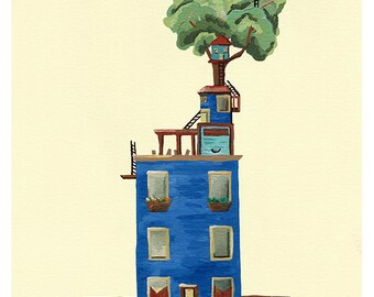Baltimore Row House Dreams, Giclee Illustration Print