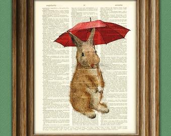 Rainy Day Rabbit. Cute Bunny Rabbit illustration beautifully upcycled dictionary page book art print