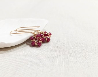 Ruby and Gold Flower Bloom Drop Earrings - 14k Yellow Gold Fill Herringbone Wire Wrapped Modern Spring Gemstone Earrings July Birthstone