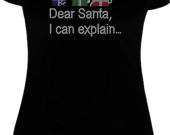 Cute Christmas shirt, Dear Santa shirt, Christmas rhinestone transfer,