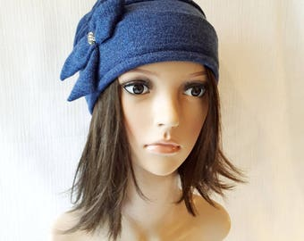 Castle/Hat bow jewelry, floppy hat, french designer hat, blue wool hat