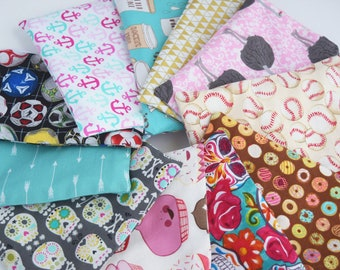 Back to School Supplies - Reusable Sandwich Bag - Eco Bag - Zero Waste Lunch Sack - Reusable Bags - Custom Made - You Pick Print