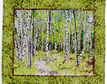 Quilted Wall Hanging  Fiber Art  Woodland Trail  Confetti Quilt Landscape  Spring Green  Birch Tree Decor  Sally Manke FIber Art