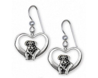 Pug Earrings Jewelry Sterling Silver Handmade Dog Earrings PG46-TE
