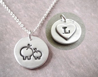 Pig Necklace, Mother and Baby, Personalized Small, New Mom Necklace, Pig Monogram, Fine Silver, Sterling Silver Chain, Made To Order